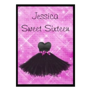 Sweet 16 Black Dress Pink Silver Glitter 3 Announcement