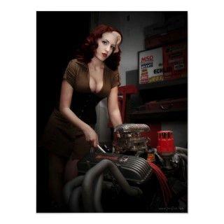FuelFoto   Hot Rod Shop Pin Up Mechanic Poster. Model: Marleigh Kay