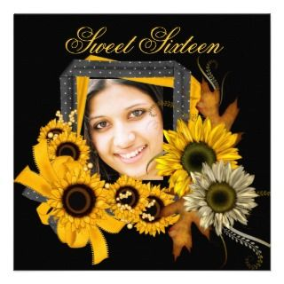 Sweet Sixteen 16 Sunflower Yellow Flower Custom Invite