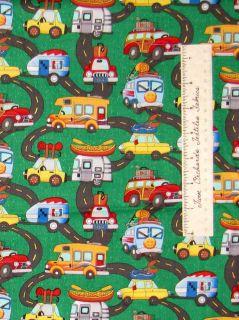 Camping RV Van Travel Road Green   Timeless Treasures Cotton Fabric