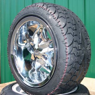 New 12 Chrome Golf Cart Wheels on Low Profile Tires