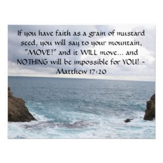 Matthew 17:20 Motivational Bible Quote Invites