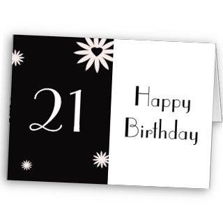 Happy 21st Birthday, black & white flowers, heart Cards