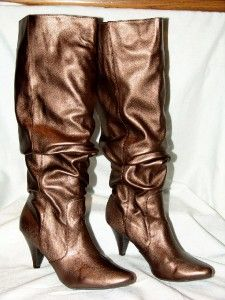 Gomax Bronze Gold Leather Ladies Knee High Fashion Boots Heels Sz 7
