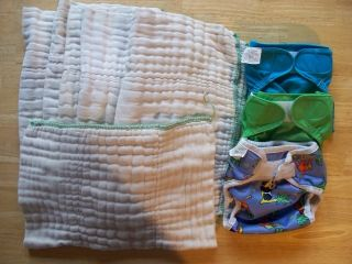 Bummis Covers and 6 Prefold Cloth Diapers