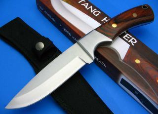 Full Tang Wood Finger Groove Handle Drop Point Hunting Skinning Knife