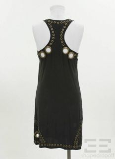 Haute Hippie Black Bronze Grommet Racerback Dress Size S