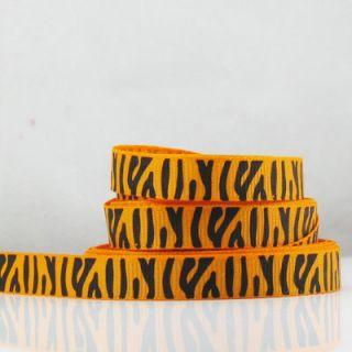 50 Yards 3 8 9mm Lot Printed Orange Zebra Grosgrain Ribbon