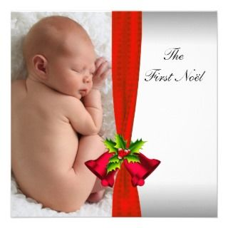 Red Bells Babys First Christmas Photo Card Custom Announcement