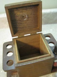 Tobacco Pipe Holder Stand Caddy Vintage Wooden Box Wood Rack