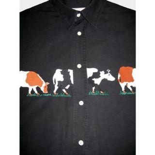 Bergdorf Goodman Mens Black Embroidered Cow Western Shirt M EU France