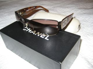 Chanel Sunglasses Womens 4117 B Tortoise Brown Swarovski Crystals