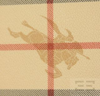 Burberry Tan Haymarket Check Coated Canvas & Red Leather Trim Frame