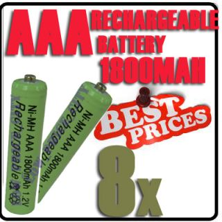 8x AAA 1800mAh 1 2V Ni MH Rechargeable Battery 3A Green Cell for MP3
