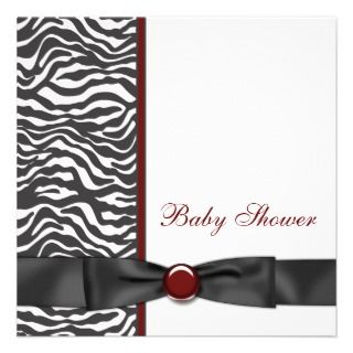Red Zebra Baby Shower Custom Invites