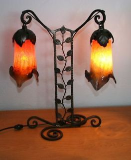 CRAFTED ART DECO STYLE WROUGHT IRON TABLE LAMP & ART GLASS SHADES