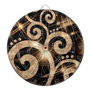 Elegant Faux Gold Glitter Swirl Dart Boards