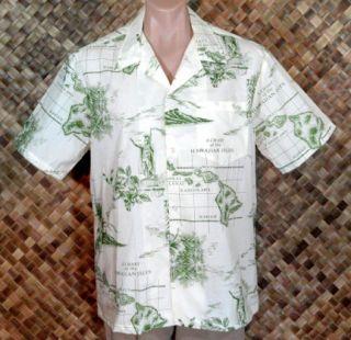 NWOT   HOWIE mens HAWAIIAN KING KAMEHAMEHA NAUTICAL MAP Print Shirt