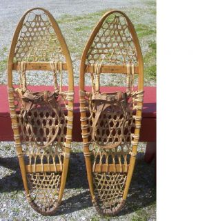 Antique Bear Paw Snowshoes 36x10 Snow Nice Gros Louis