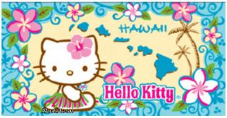 Hawaiian Island Hawaii Blue Flower Hello Kitty Beach Towel Bath Huge