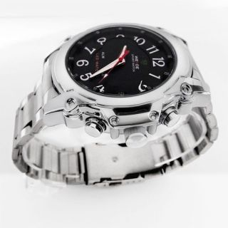 Date LED Light Analog Silver Stainless Steel Fashion Sport Army Watch