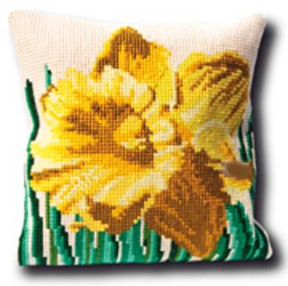 Thea Gouverneur Counted Cross Stitch Kit 15 x 15 Narcis Pillow 4004