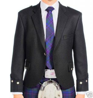 SCOTTISH ARGYLL KILT JACKET BLACK BARATHEA WOOL chest size 44 REGULAR