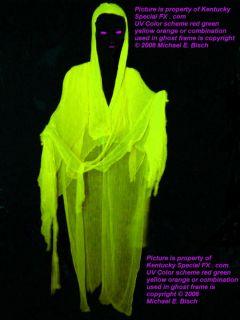 Yellow Halloween Hanging Ghost Prop Decoration Blacklight Reactive