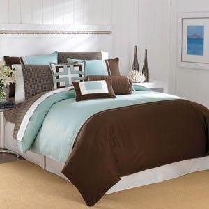 Nautica Grover Beach Comforter & Sham Set  Teal Blue Brown White FULL
