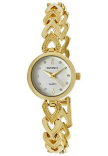 Dufonte Watch 73067YLWH Womens White Crystal White Dial Gold Tone