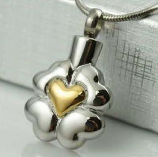 Tone Heart Shaped Stainless Steel Cremation Urn Pendant Necklace