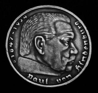Hindenburg Germany 1938 D Silver 5 Mark Hitler Nazi 1 Coin WWII