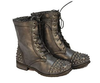 WOMEN FASHION Combat Army Military Riding Boot BLACK Studded MID CALF