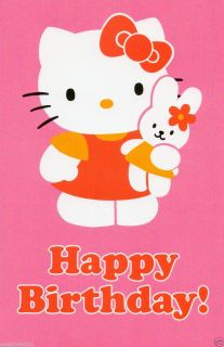 Hello Kitty Pink Happy Birthday Greeting Card
