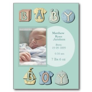 Baby Boy Birth Announcement Thank You Note Card Post Cards