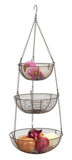 RSVP Bronze 3 Tier Hanging Woven Wire Metal Basket Fruit Vegetable