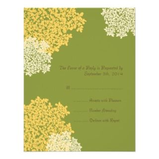 Green & Yellow Queen Annes Lace Wedding RSVP Custom Invitations