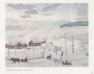 Grandma Moses Landscape Print Mount Nebo in Winter