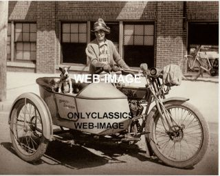 1914 Harley Davidson Sidecar Motorcycle Boxer Dog Photo