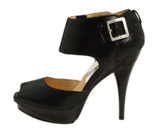 11 MICHAEL KORS HEIDI WOMENS BLACK EMBOSSED LEATHER PLATFORM HEEL