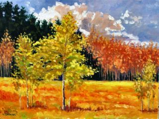 gold autumn landscape original hand made Oil Painting by Idkowiak 12