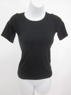 hanro black short sleeve crewneck top shirt sz m