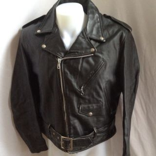 Vintage Harlin Black Shearling Leather Motorcycle Biker Jacket Sz 44