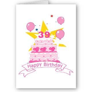 Torta de cumpleaños de 39 años tarjeton de