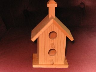 Bird House Decoration Unfinished Wood 6 in Tall 2 Perch