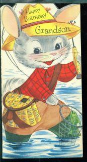 Vintage 1959 Greeting Card Happy Birthday Grandson Dressed Rabbit