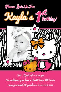 Hello Kitty Zebra Print Birthday Costume Party Invitation Halloween