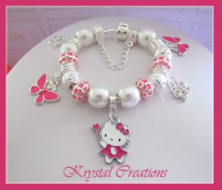 PINK Hello Kitty charm bracelet LOTS OF CHARMS Girls 16cm Gift