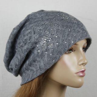 Gray Loose Knit Rhinestone Star Beanie Hat Hats HT102