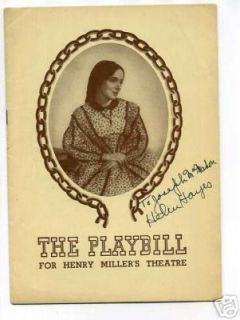 Helen Hayes Harriet RARE Singed 1944 Autograph Playbill